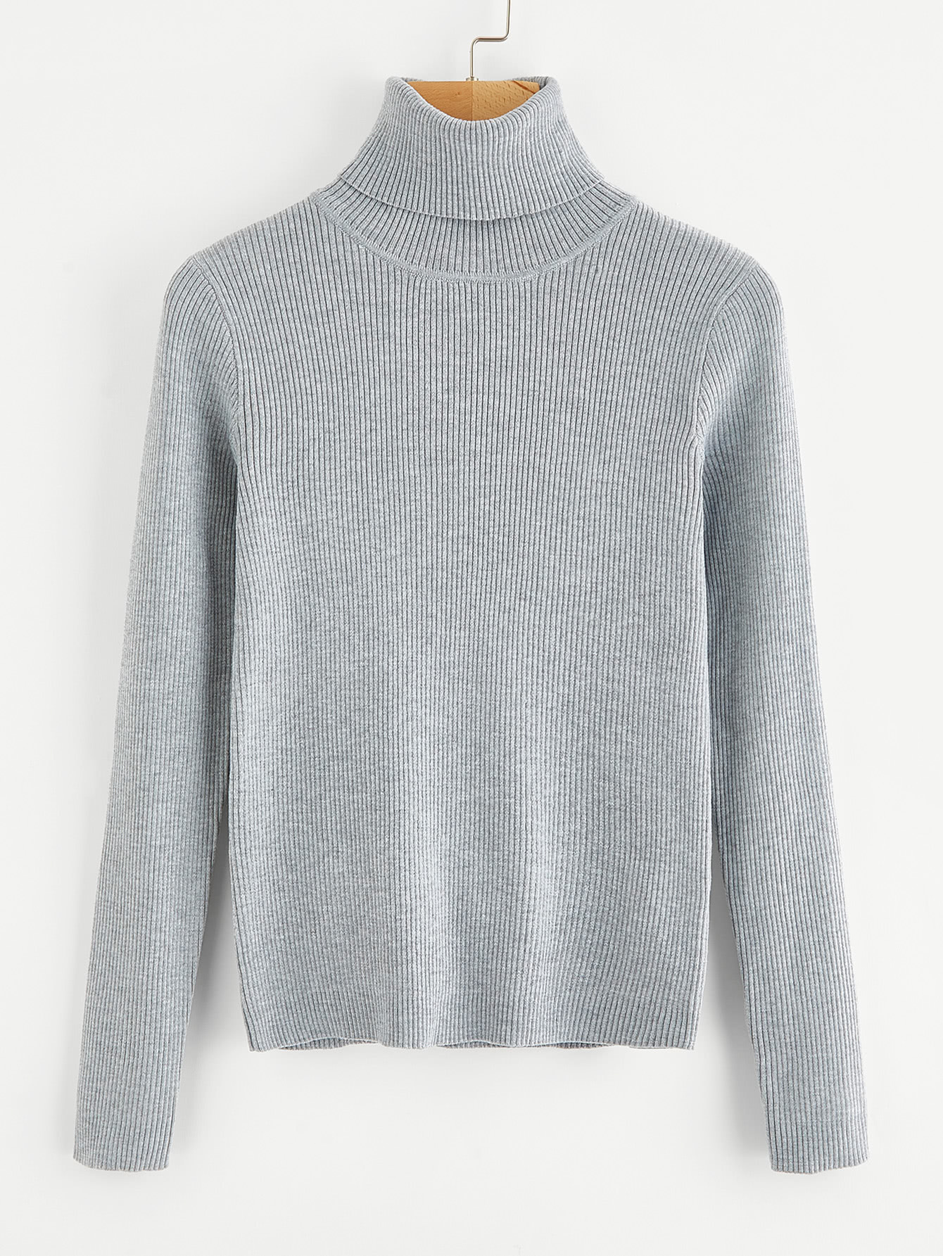 Solid Ribbed Knit Roll Neck Jumper sweater170821457
