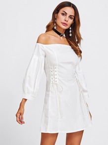 Lace Up Side Bardot Dress
