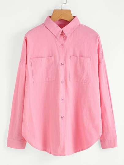 Drop Shoulder Dual Pocket Curved Hem Shirt