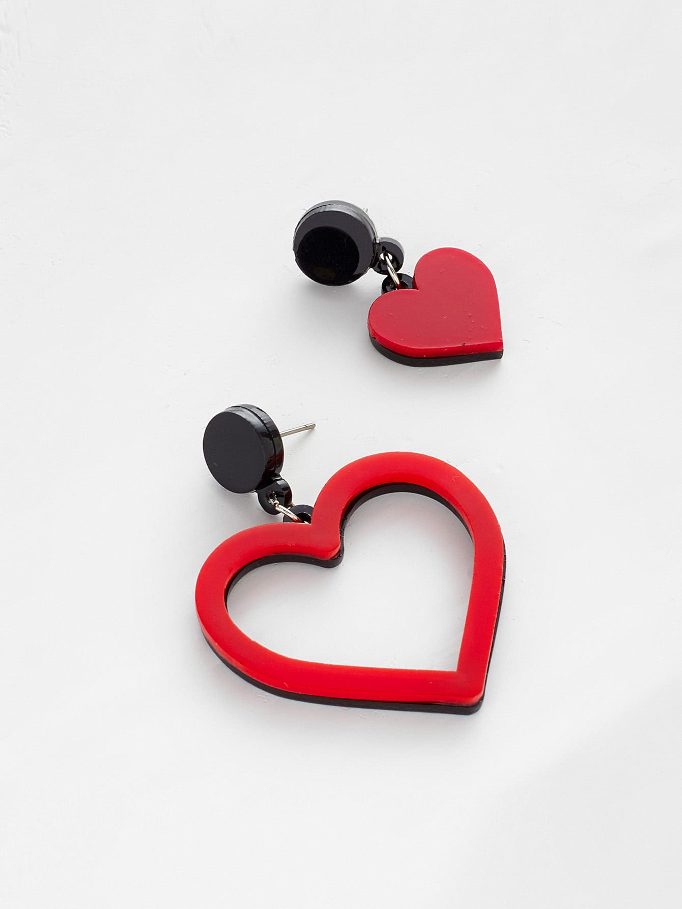 Two Tone Heart Design Mismatched Earrings two tone drop shoulder sweatshirt