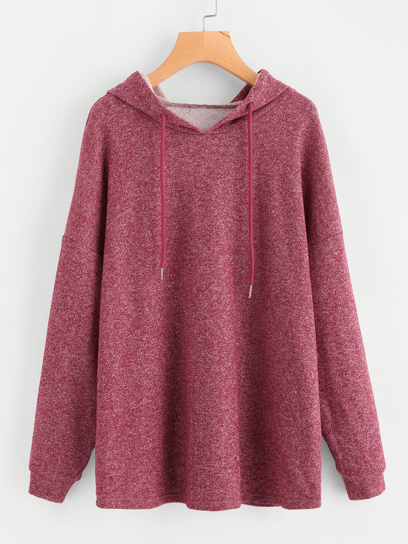 Drop Shoulder Marled Drawstring Hoodie