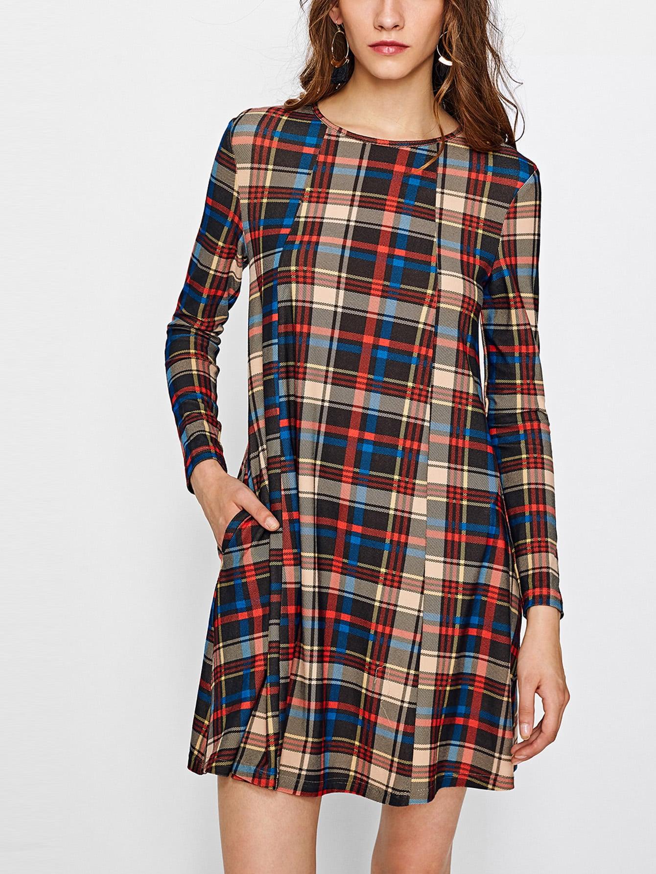 все цены на Hidden Pocket Side Checkered Trapeze Dress