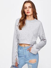 Lace Up Sleeve Heathered Crop Sweatshirt