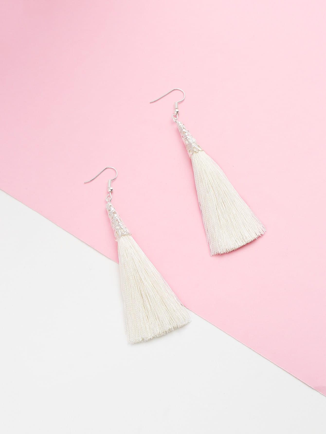 Long Tassel Hook Earrings natural stone tassel drop hook earrings