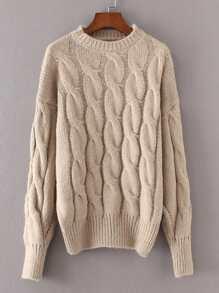 Sweater manteau en tricot à câble