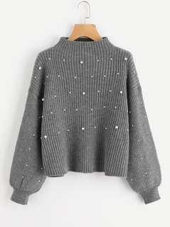 Pearl Beaded Rib Knit Jumper
