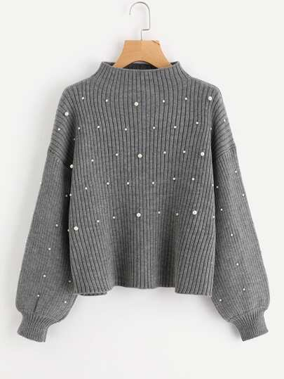 Pearl Beaded Rib Knit Jumper