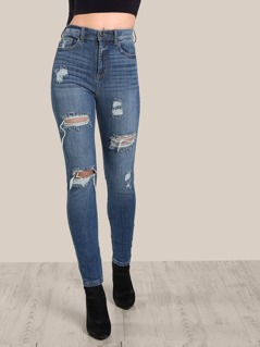 Light Wash Distressed Jeans DENIM