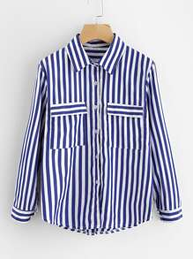 Contrast Striped Dual Pocket Shirt