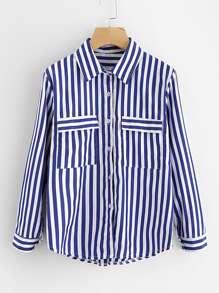 Модная рубашка в полоску с карманом