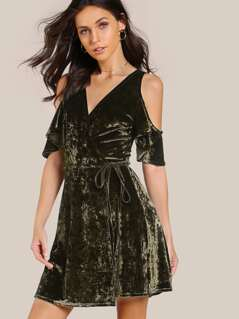 Open Shoulder Flutter Sleeve Surplice Front Velvet Dress