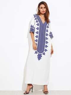 Ornate Print Kimono Sleeve Dress