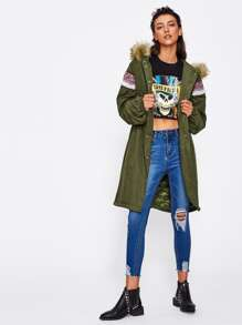 Faux Fur Hoodie Embroidered Tape Detail Parka Coat