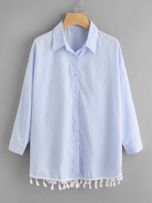 Contrast Tassel Hem Drop Shoulder Striped Shirt