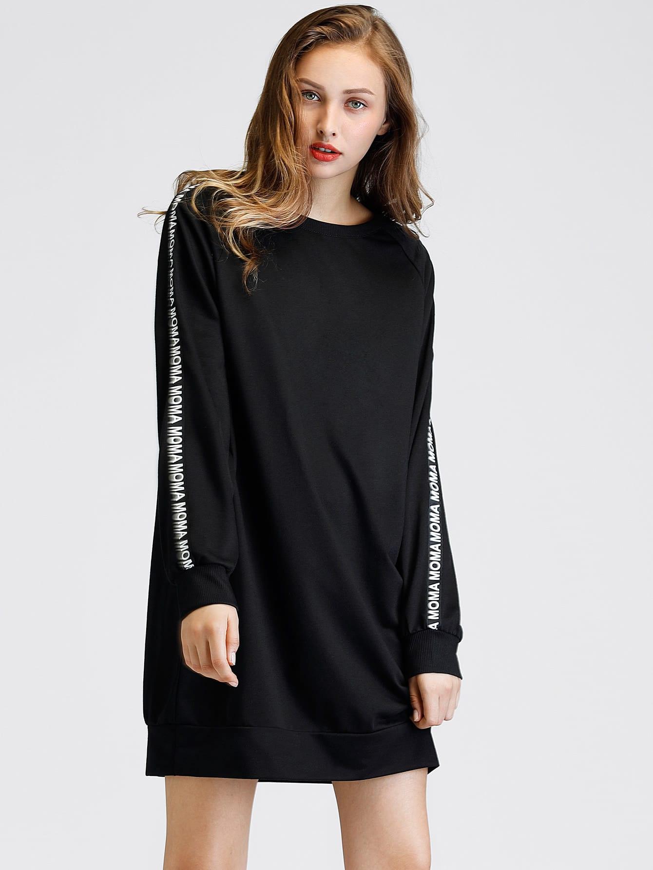 Letter Tape Detail Raglan Sleeve Sweatshirt Dress frill sleeve tape detail sweatshirt