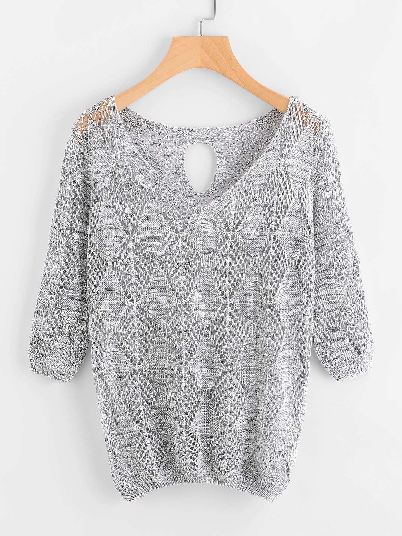 V-neckline Keyhole Back Open Knit Sweater open knit long sweater