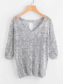 Sweater col en V avec un trou