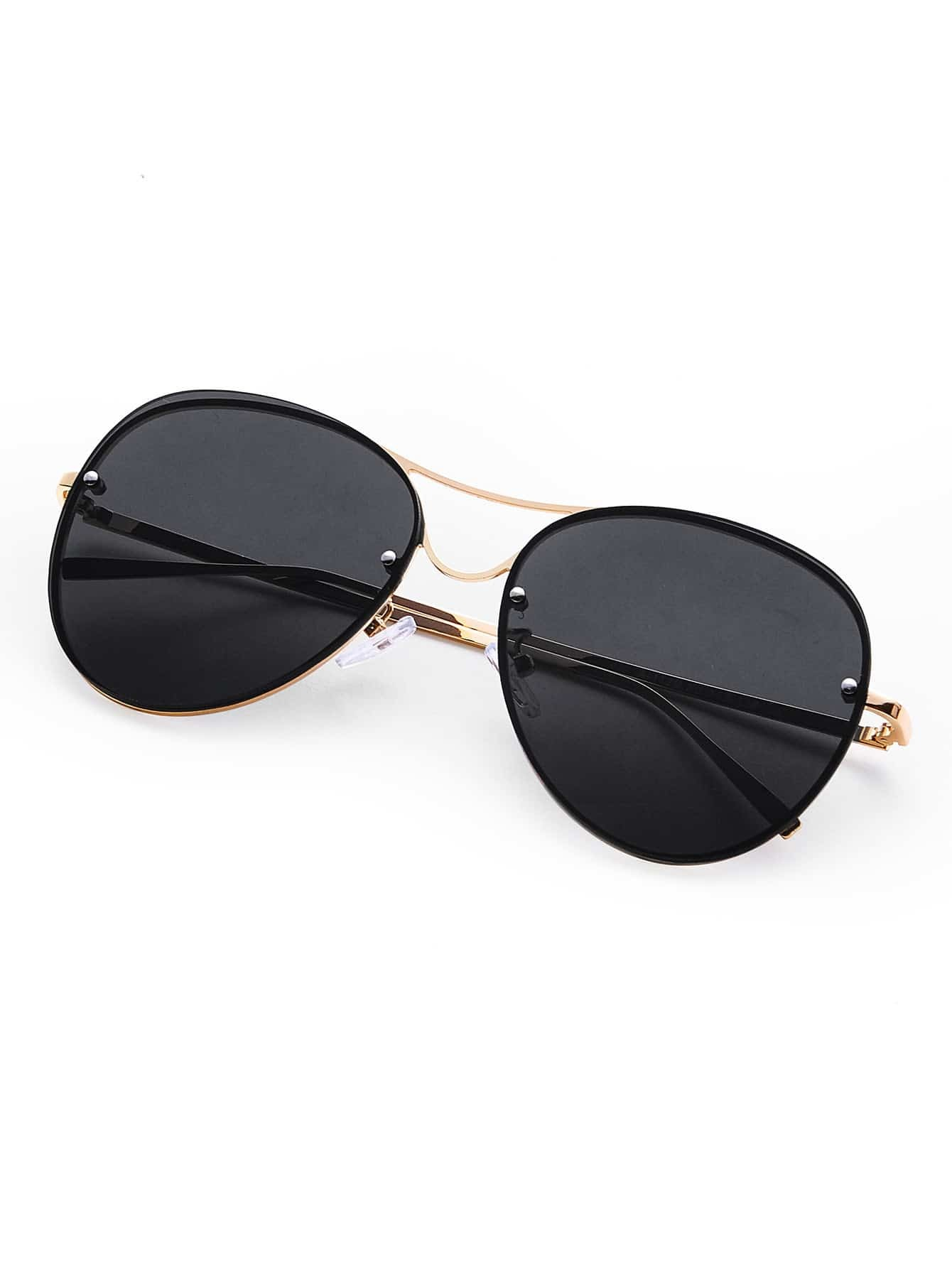 Rimless Double Bridge Aviator Sunglasses