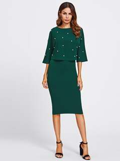 Pearl Embellished Double Layer Dress