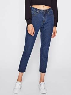 Raw Cut Hem Mid Wash Crop Jeans