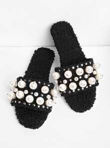 Faux Pearl & Studded Decorated Flat Slippers