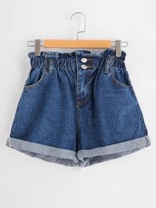 Shirred Waist Cuffed Denim Shorts