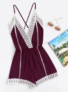 Lace Trim Criss Cross Open Back Cami Romper