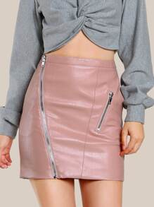 Zip Detail Faux Leather Skirt