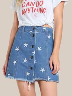 Star Embroidered Denim Skirt DENIM
