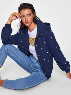 Pearl Beading Quilted Hooded Jacket
