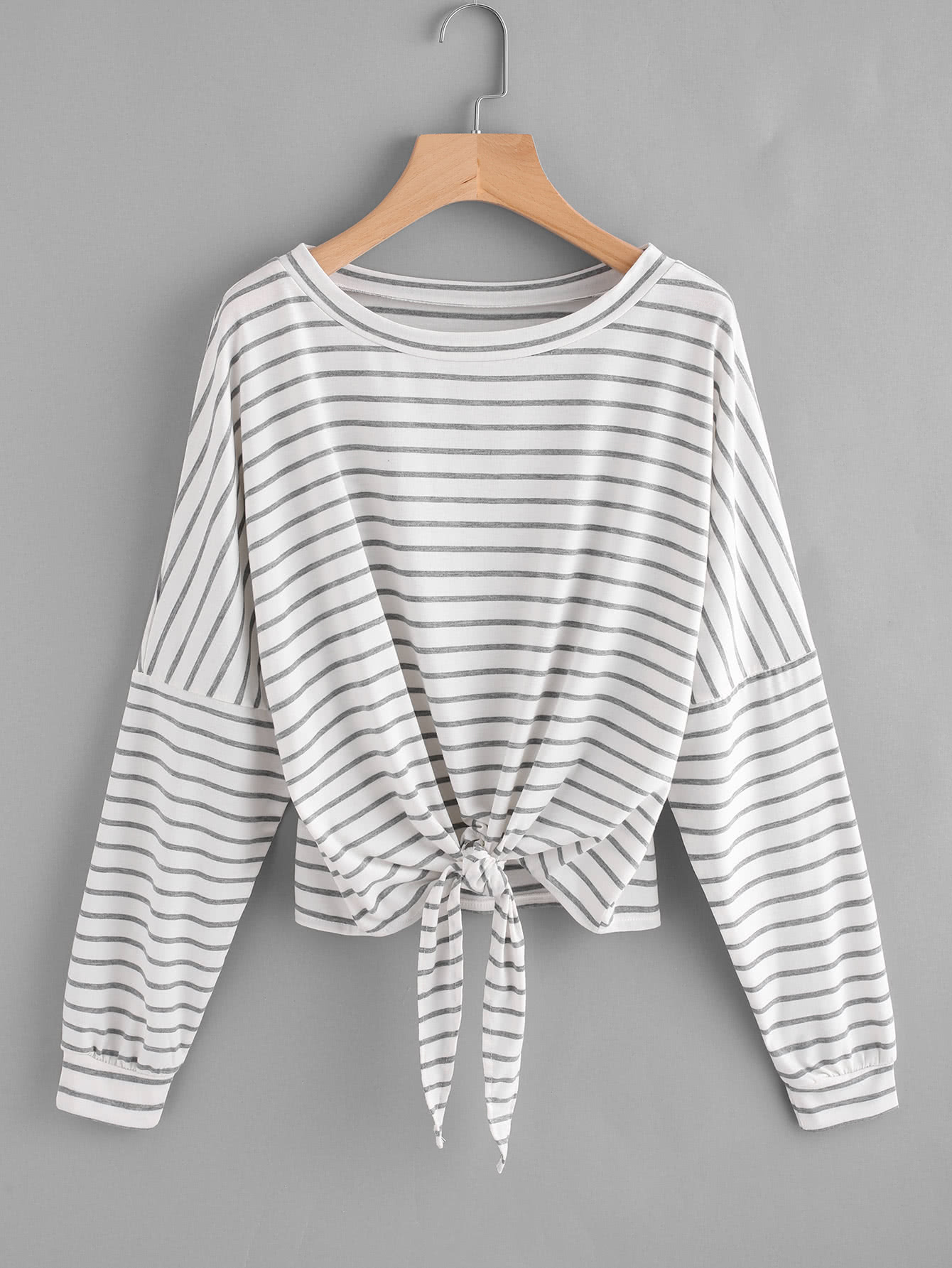Striped Tie Front Drop Shoulder Tee two tone drop shoulder tee