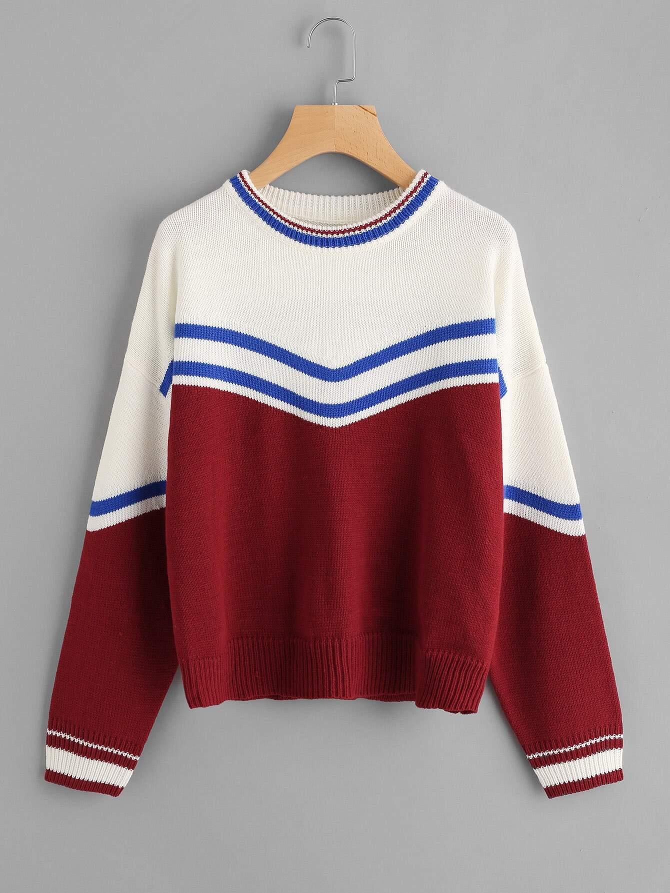 Ribbed Trim Striped Jumper sweater170824468