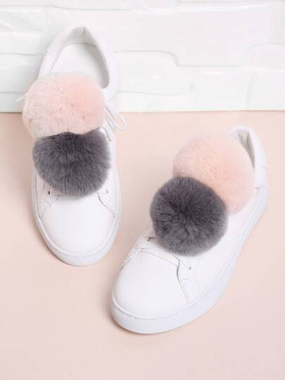 Double Pom Pom Decorated PU Sneakers