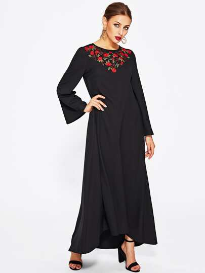 Rose Embroidered Dip Hem Hijab Evening Dress