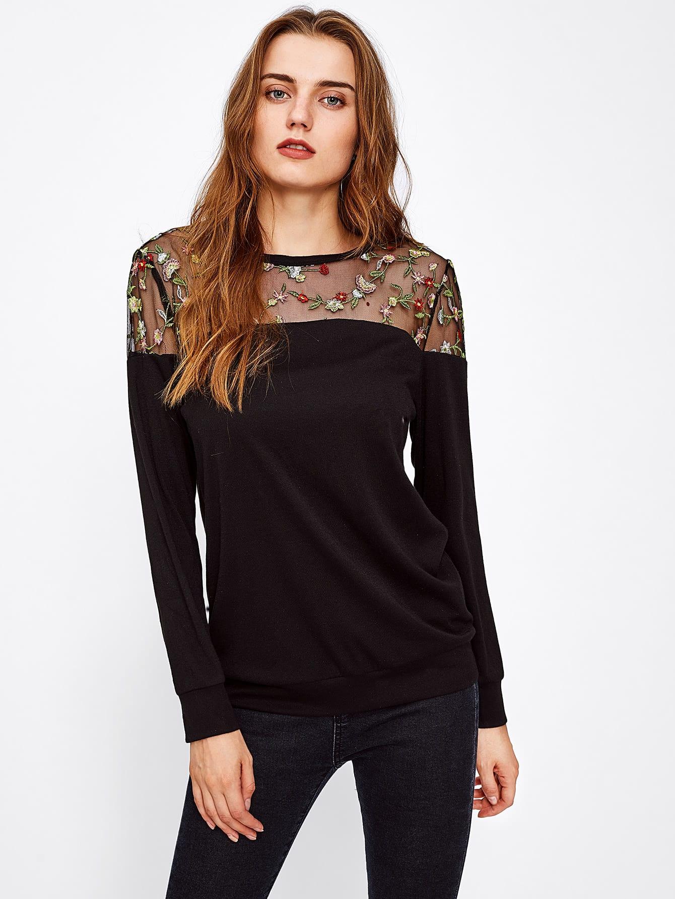 все цены на Botanical Embroidery Mesh Yoke Sweatshirt