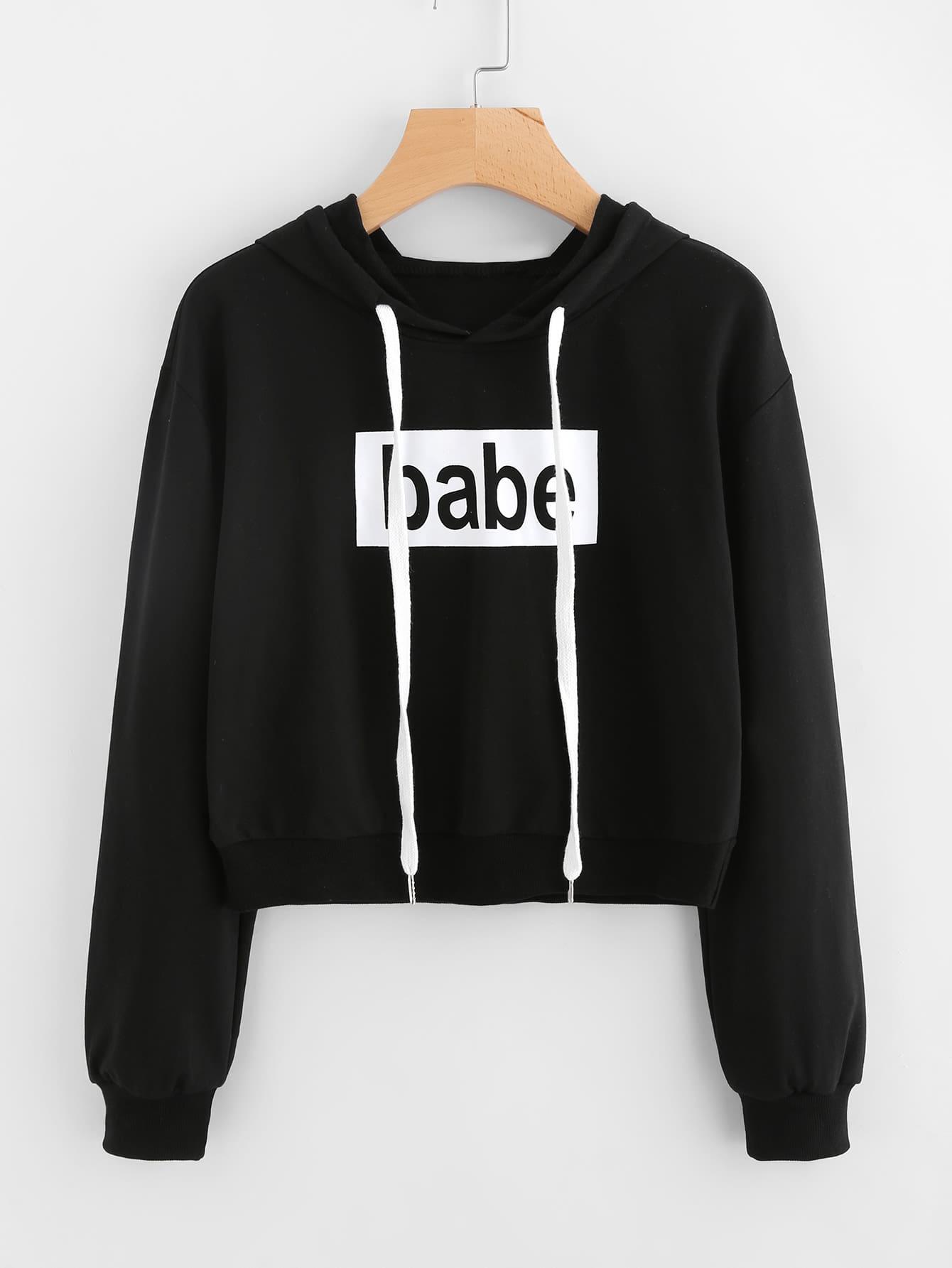 Babe Print Drawstring Hoodie