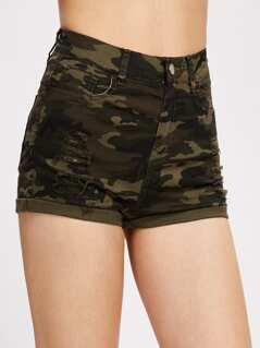 Shredded Cuffed Camo Denim Shorts