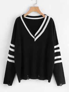 Rips Detail Varsity Striped Jumper