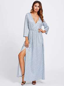 V Neckline Split Front Allover Print Dress