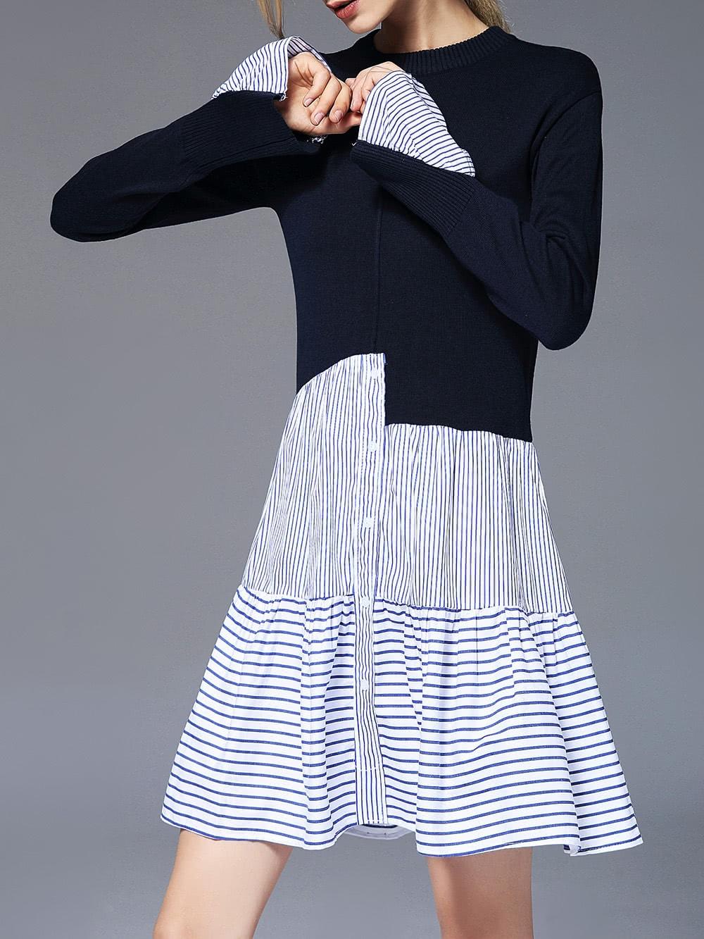 Color Block Striped Dress