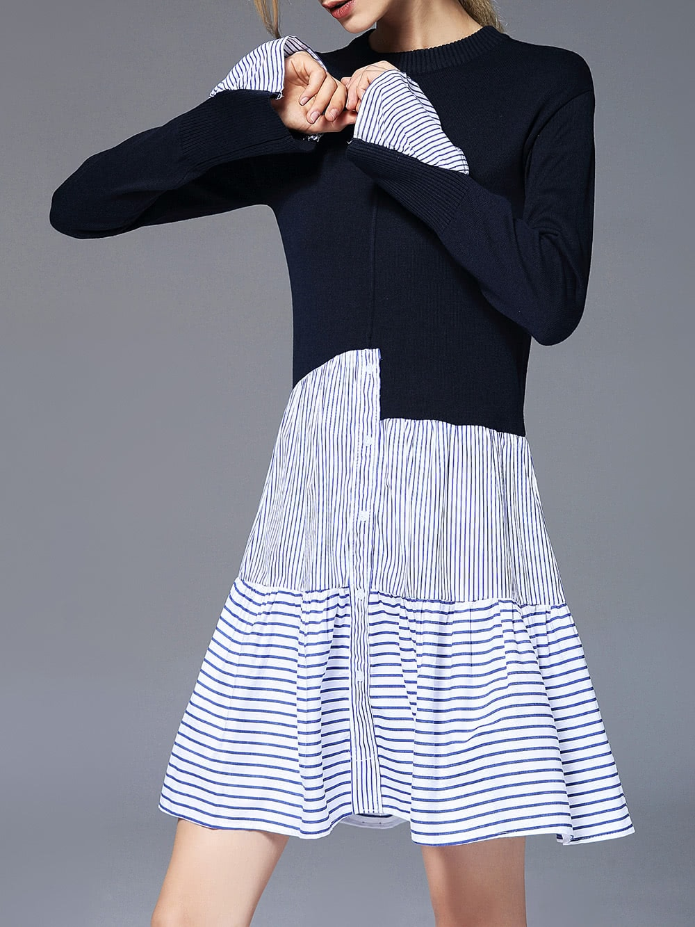 Image of Color Block Striped Dress