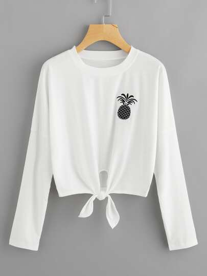 Pineapple Embroidered Knot Front T-shirt