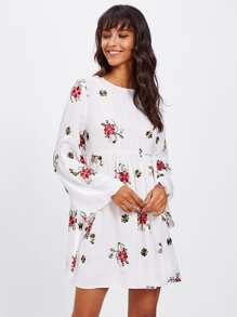 Trumpet Sleeve Botanical Embroidered Smock Dress