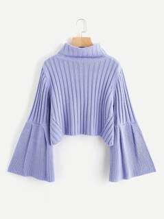 Rib Knit Fluted Sleeve Jumper