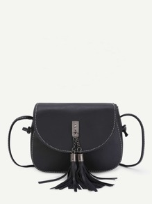 Double Tassel Front PU Crossbody Bag