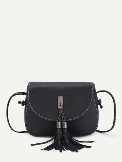 Double Tassel Front PU Crossbody Bag