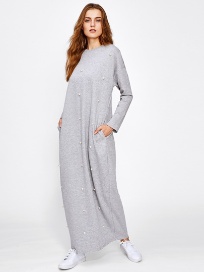 Pearl Beading Heather Knit Hijab Long Dress