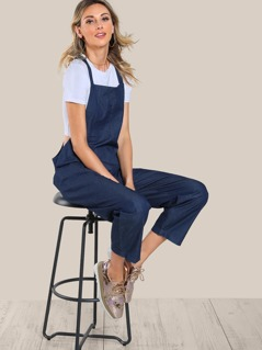 Solid Capri Overalls DARK BLUE