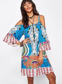 Geo Print Kimono Sleeve Dress