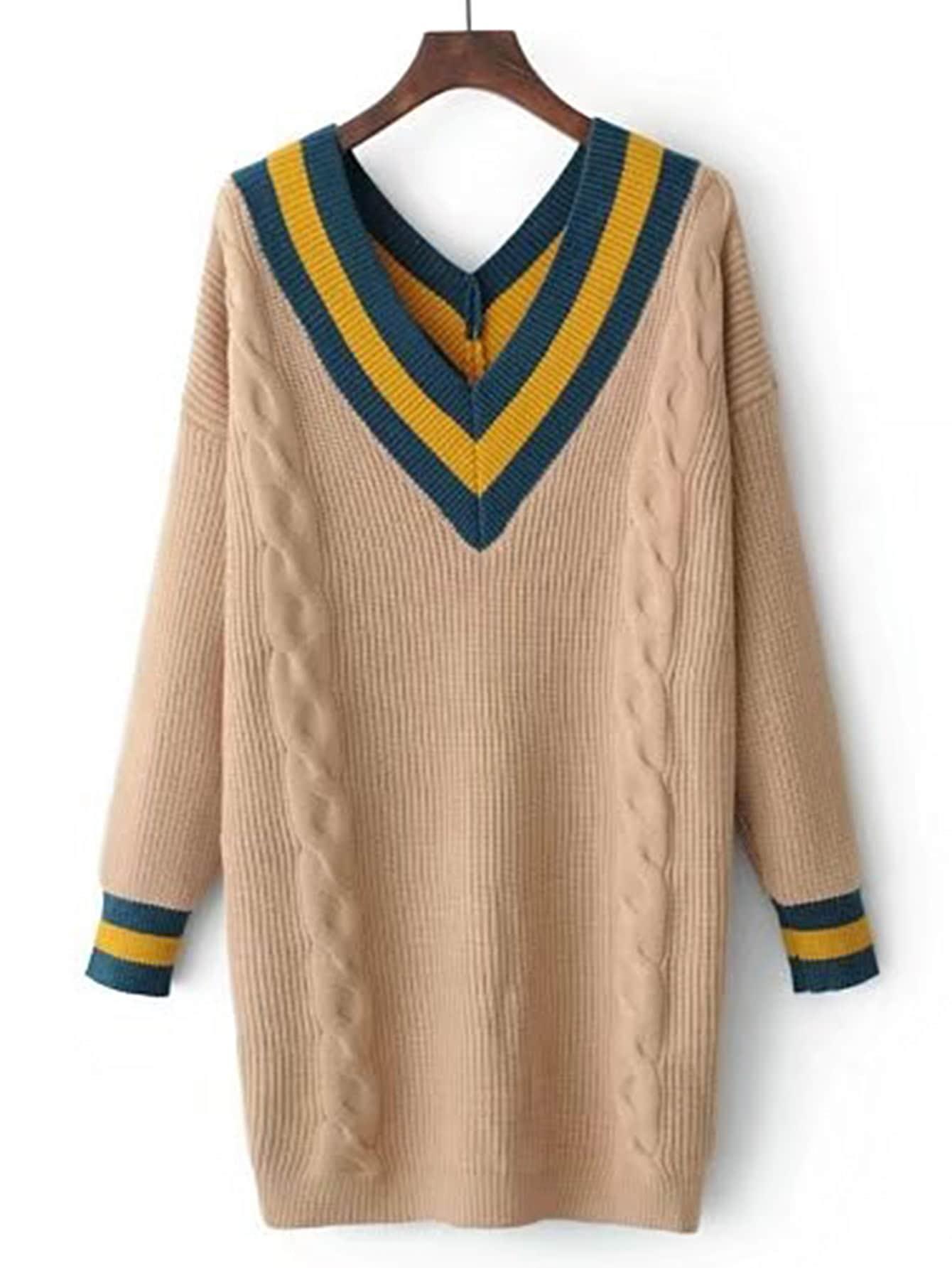 Chevron Print Cable Knit Sweater Dress EmmaCloth-Women Fast ...